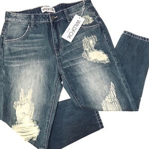 Wildfox Distressed Crop Boyfriend Jeans